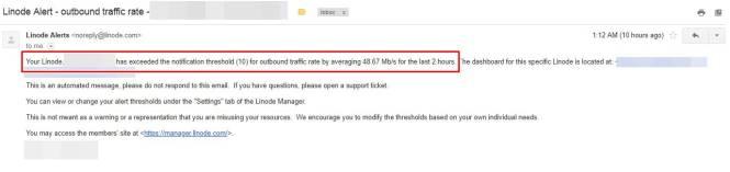 Warning traffic linode