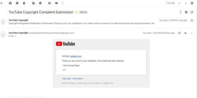 Kalau video sudah dihapus akan diinformasikan oleh Youtube lewat email seperti ini.