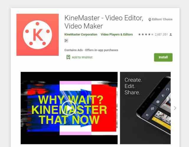KineMaster adalah aplikasi Android edit video terbaik yang populer dikalangan para Youtuber.