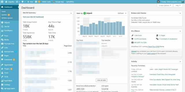 Untuk Dashboard WordPress Self Hosted jauh lebih kompleks, apalagi setelah ditambah plugin custom. Untuk contoh, saya kasih lihat dashboard blog wisata saya catperku.com. Jadi menurut kamu, antara Blogger Vs WordPress bagus mana nih?