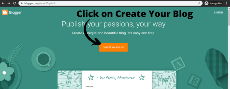 """Click on """"CREATE YOUR BLOG"""" (start a free blog steps)"""
