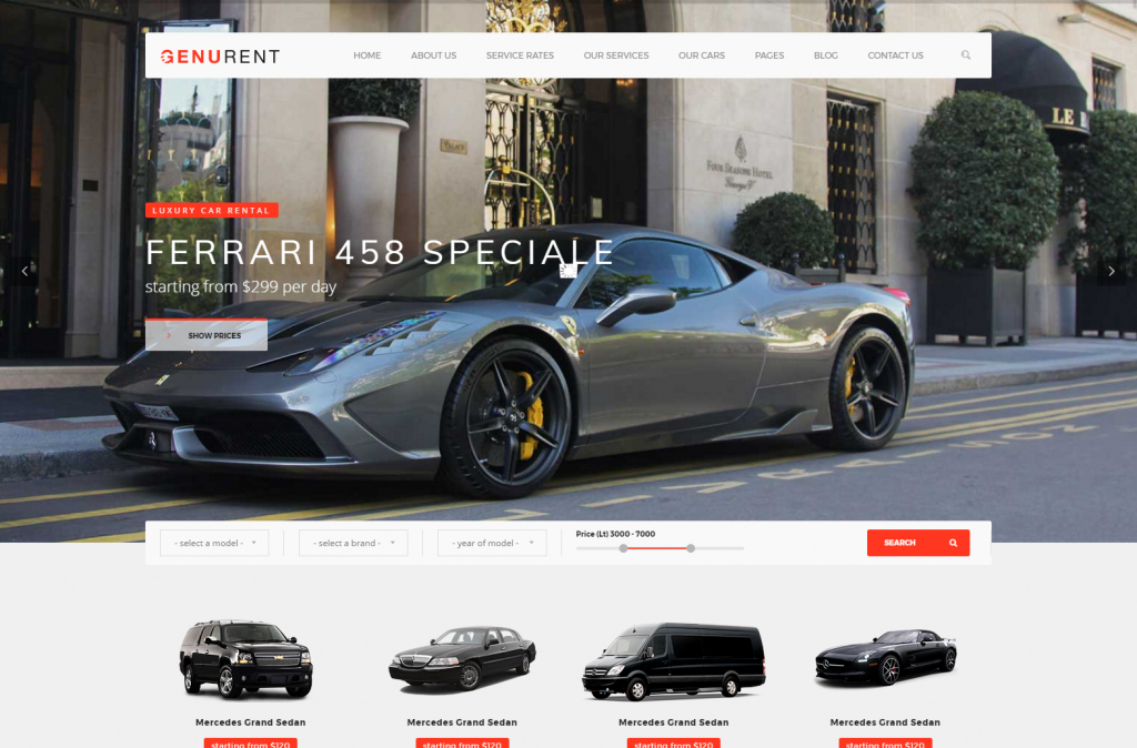 Genurent Car Hire & Cab Booking WordPress Template