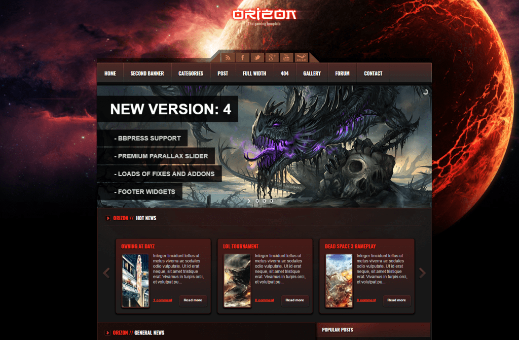 Orizon - Gaming Template WordPress Version