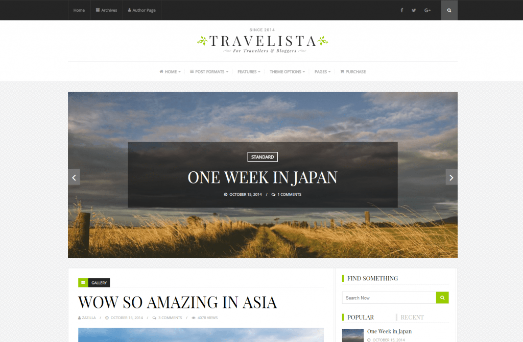 Travelista - Travel Blog Theme