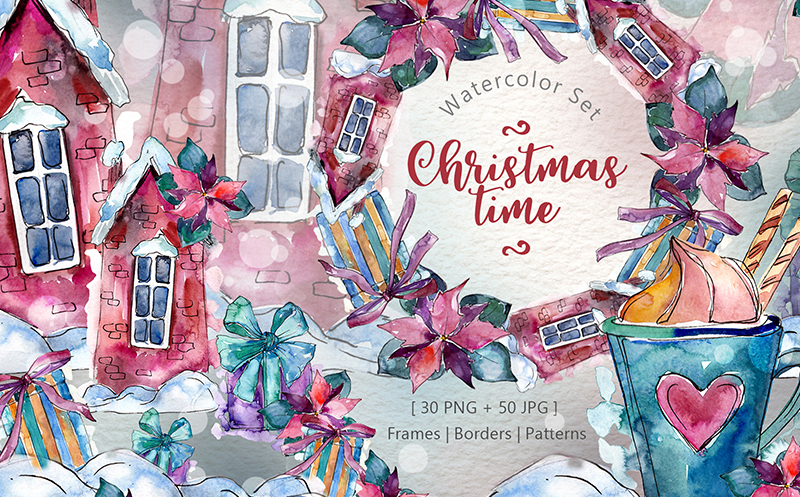Christmas Time PNG Watercolor Set Illustration