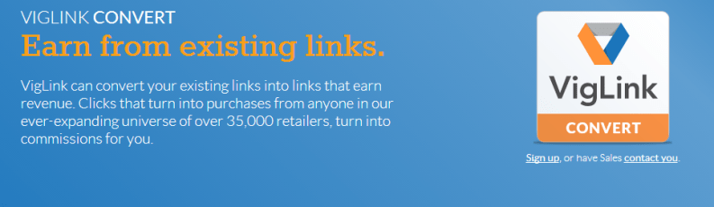 VigLink Monetization Program for blogs