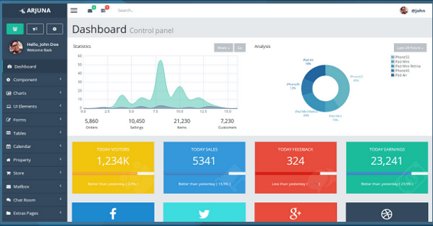 Arjuna Responsive Admin Template HTML Bootstrap Template BootstrapBay
