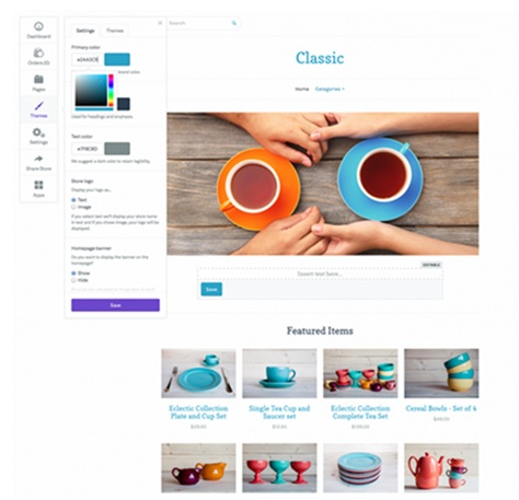 online store with customizable pages