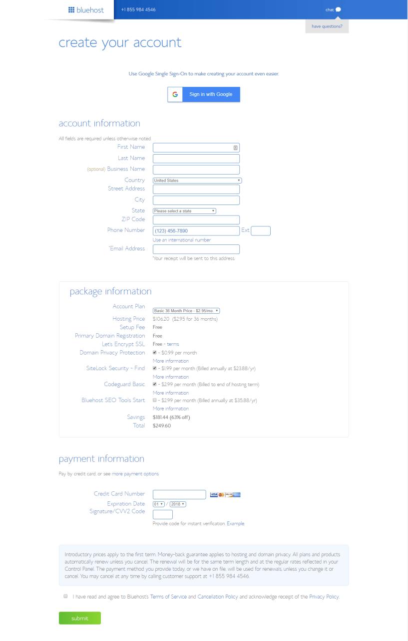 bluehost discount- accoun info