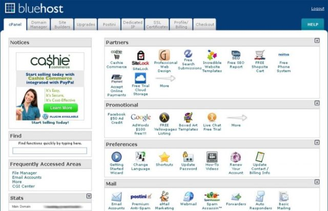 bluehost control panel