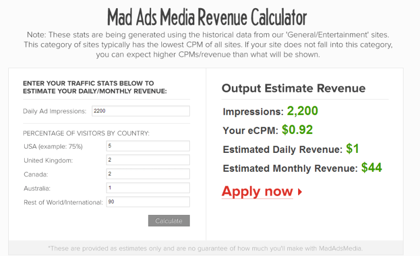 MadAdsMedia review- revenue calculator