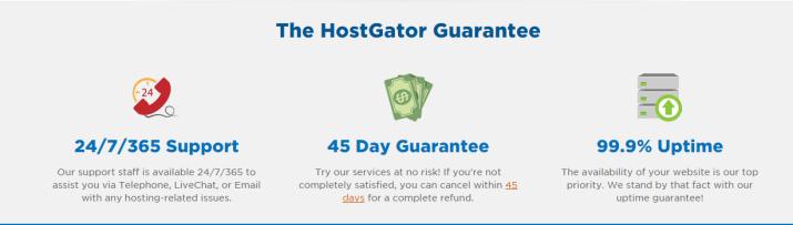 HostGator Guarantees