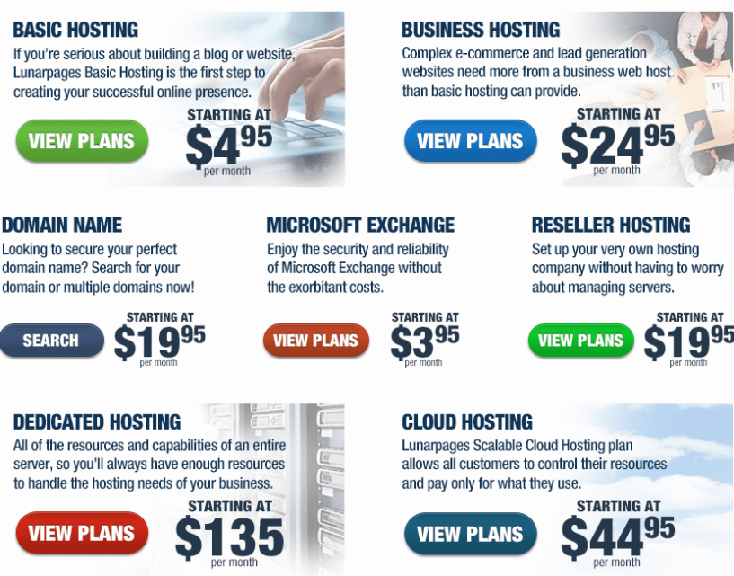 Lunarpages Web Hosting plans