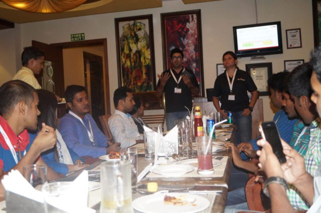 Me speaking at Payoneer Networking Dinner 31st May 2015 Bangalore 2