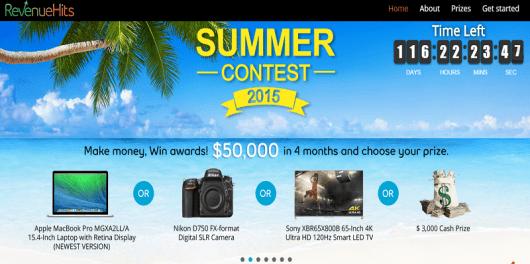 RevenueHits Summer Contest 2015 Ad network