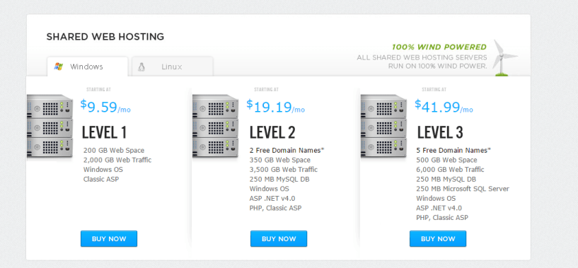 Brinkster Shared Web Hosting Configurations Pricing