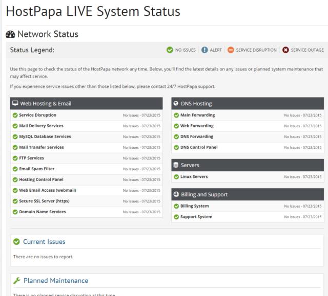 HostPapa Network Status Page