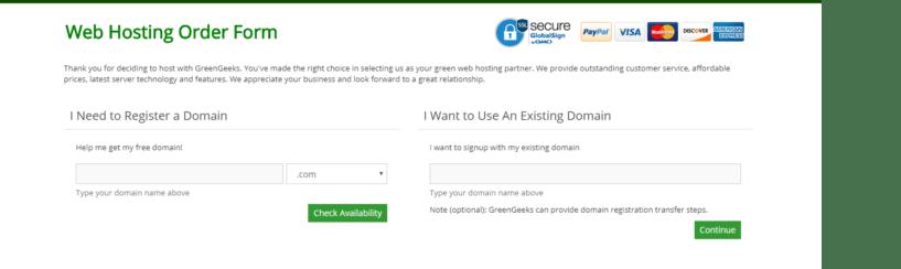 green geeks- webhosting order
