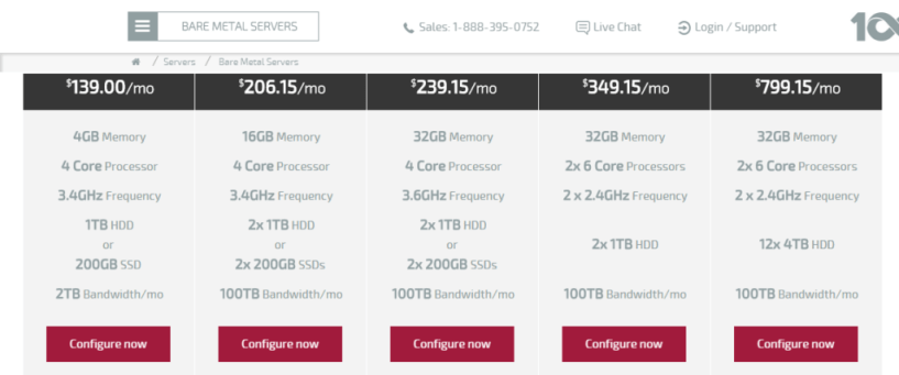 100TB Bare Metal Servers Dedicated Servers