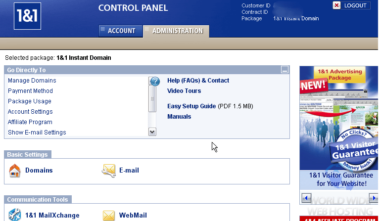 1and1 cpanel