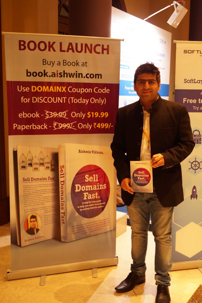 Domain X 2015 Aishwin with his  book how  to  sell domains fast