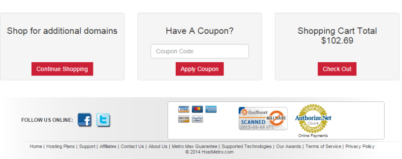 Host Metro Coupons - order summary