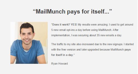 Mailmunch Testimonial 1