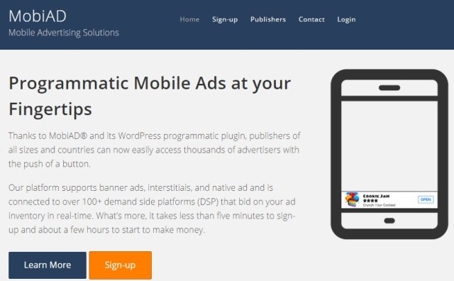 MobiAD review homepage