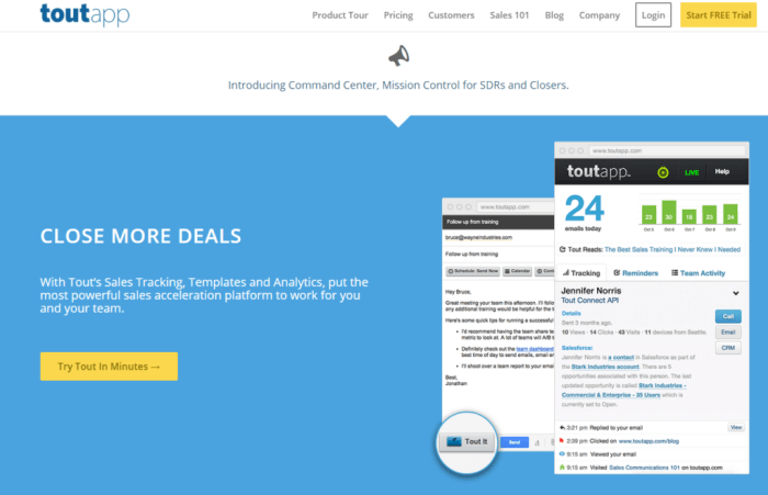 ToutApp Sales Email Tracking Templates and Analytics