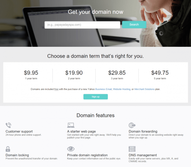 Yahoo Small Business Domains names promo code