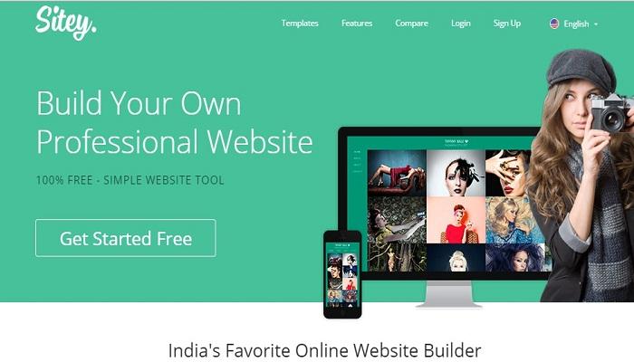Sitey review homepage - website builders india