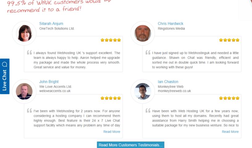 WHUK Reviews Customer Testimonials - Web Hosting Coupon Code