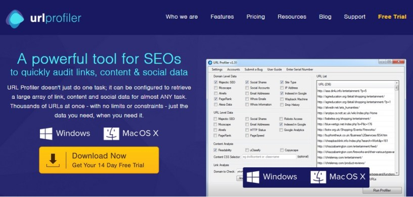 url profiler review homepage