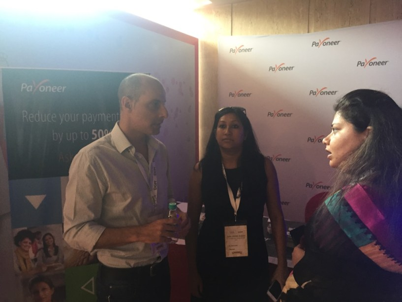 India Affiliate Summit 2015 Delhi Payoneer team discussing