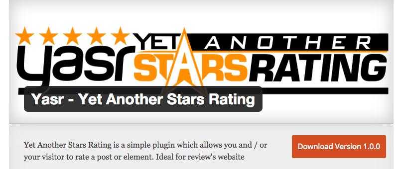 Yasr Yet Another Stars Rating WordPress Plugins
