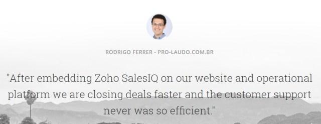 SalesIQ review customer testimonial