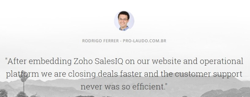 SalesIQ review customer testimonial