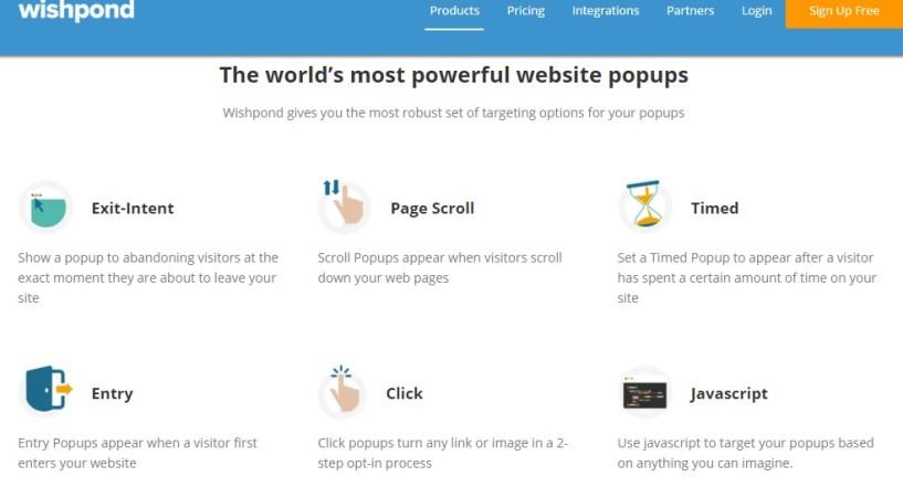 wishpond website popups