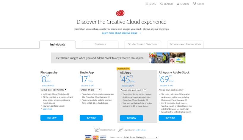 Adobe Creative Cloud Creative Cloud pricing and membership plans