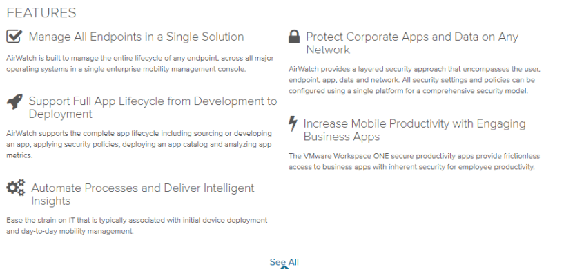 VMware- airwatch features