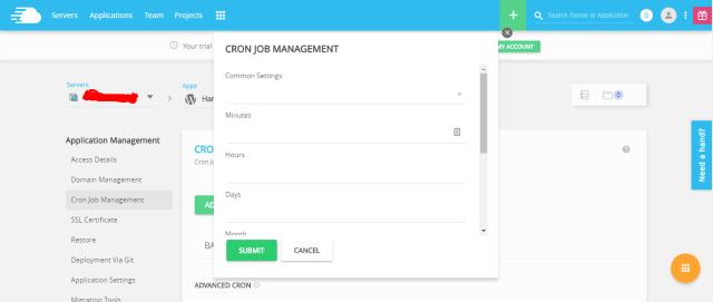 cloudways wordpress hosting- cron job managemnt