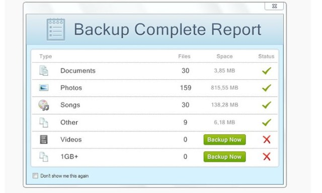 Justcloud backup