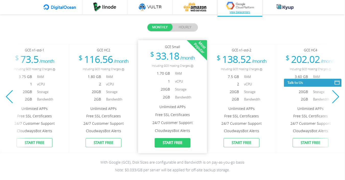 cloudways review- google cloud pricing
