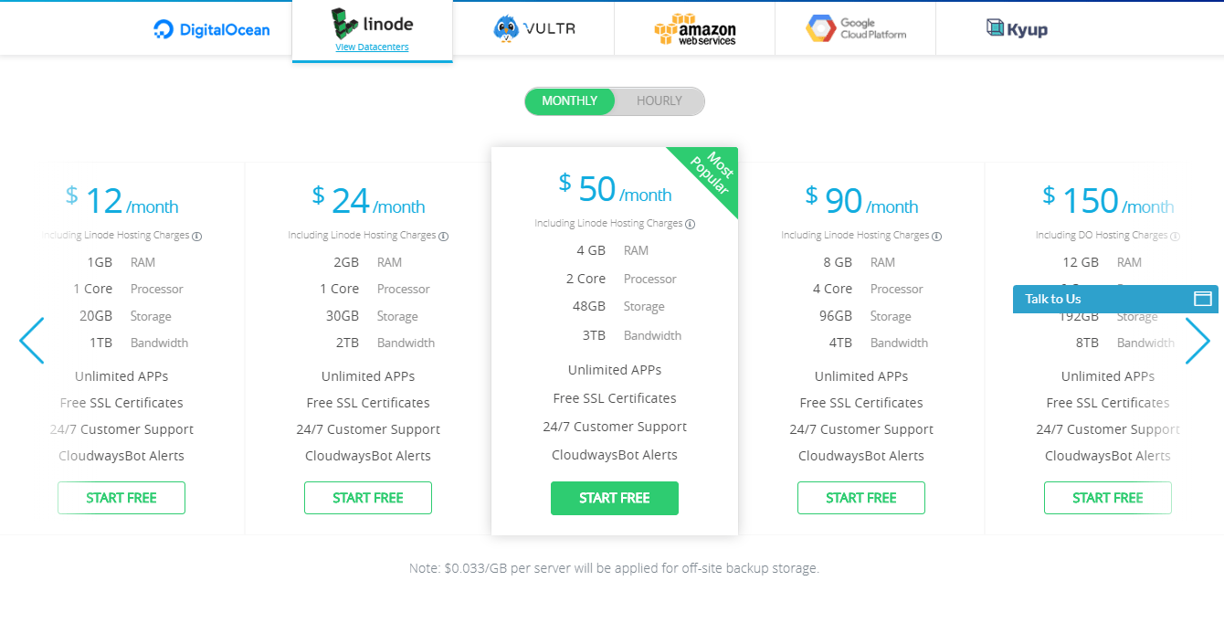 cloudways review- linode pricing