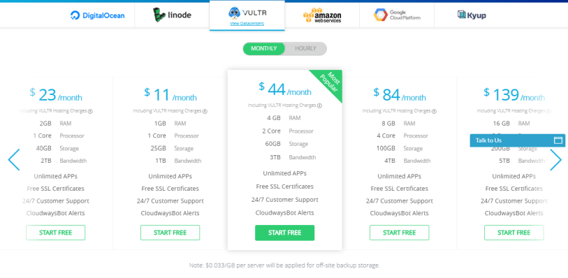 cloudways review- vultr pricing