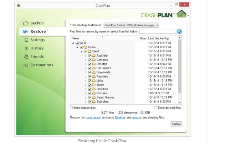 CrashPlan restoration
