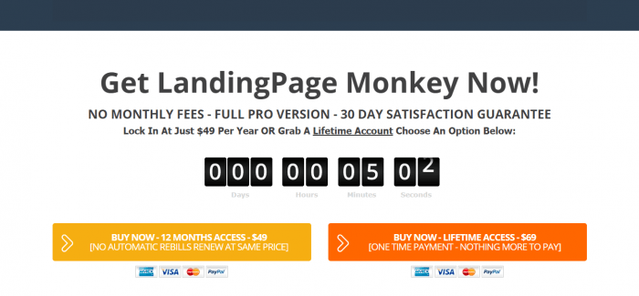 LandingPage Monkey pricing and review
