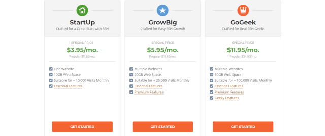 Siteground SSH pricing