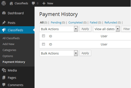 WPAdvert payment history