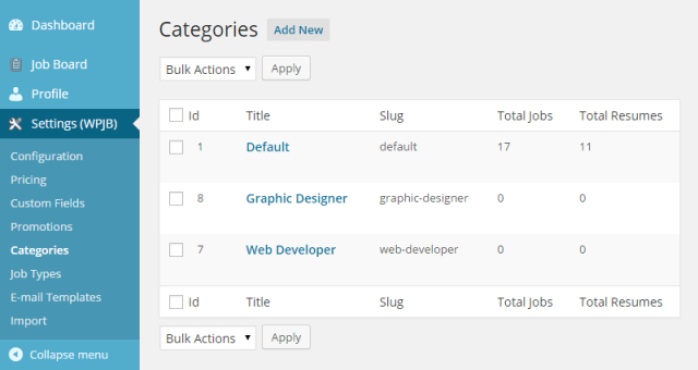 WPJobBoard categories